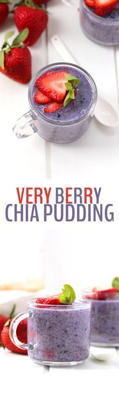 Better stock up on those chia seeds cause you're going to love this Very Berry Chia Pudding. Make with a triple berry punch, this healthy snack or breakfast recipe is full of protein and fiber to keep (Favorite Recipes Chia Seeds) Superfood, Healthy Breakfast Recipes, Healthy Recipes, Vegan Breakfast, Chia Pudding Breakfast, Chia Recipe, Chia Seed Pudding Recipe, Vegan Chia Seed Pudding, Desserts Sains