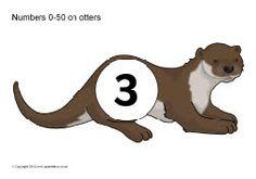 Numbers 0-50 on otters (SB8854) - SparkleBox