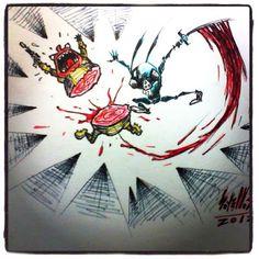 ATAQUE FURIOSO!  #ilustración #dibujo #draw #comic #toon #chibi #conejo #rabbit #DarthBunny #starwars #darthvader #art #arte #artetradicional #marcador #rotulador #sharpie #fabercastell #gore #sangriento #blood #cifi #cienciaficción #soyellobo #caracas #Venezuela #instaart #diseño #design #viñeta