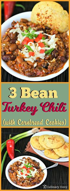 This 3 Bean Turkey Chili is the best turkey chili you'll ever taste. Perfect for a chilly night when you need a quick and delicious chili dinner. Chili Recipes, Slow Cooker Recipes, New Recipes, Crockpot Recipes, Soup Recipes, Cooking Recipes, Favorite Recipes, Healthy Recipes, Turkey Chili