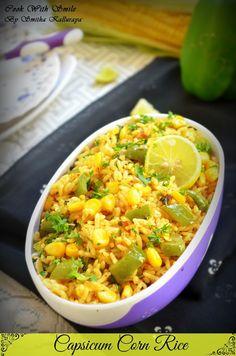 capsicum corn rice,capsicum corn pulav,capsicum bath