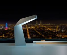 The Obvious Table Lamp is an origami-esque diffusion of light. Essentially made from one piece of uninterrupted metal — in this case, sheet steel, w. Barcelona, Cool Gear, Wind Turbine, Light Fixtures, Diffuser, Table Lamp, Lights, Steel, Modern