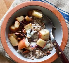 Apple Farro Breakfast Bowl with Cranberries and Hazelnuts