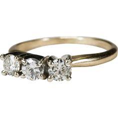 Perfect .60ctw Past Present Future Diamond Ring 14k Wedding Engagement Ring