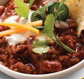 Emeril's Chili - I use ground beef instead of chuck...  http://www.foodnetwork.com/recipes/emeril-lagasse/emerils-chili-recipe/index.html