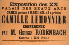 Georges Rodenbach conference poster, 1886.