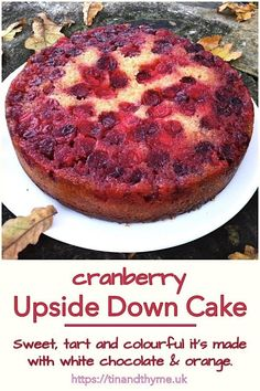 Cranberry Upside Down Cake. Sweet tart and colourful it's made with white chocolate and flavoured with orange and cardamom. Perfect for Christmas Thanksgiving New Year's Day or any other winter festivities. Homemade Cake Recipes, Cake Mix Recipes, Baking Recipes, Dessert Recipes, Dessert Ideas, Cranberry Dessert, Cranberry Recipes, Christmas Desserts, Christmas Baking