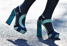 Color Blocking. Malachite heels. Shot by Tommy Ton.-Michael Rayhill