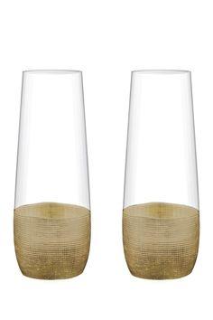 Linen Gold Stemless Flute - Set of 2