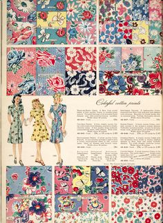 colorful cotton prints, Simpson's Fall and Winter catalog 1945-46