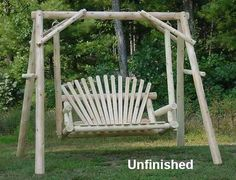 4' Cedar Log Porch Swing with Stand