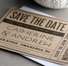 vintage save the date tags - could be used for any type of invitation