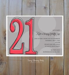 21st  Birthday Invitations Bold Outlined Age by fancyshmancynotes, $15.00