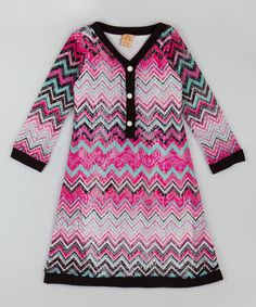 Look what I found on #zulily! Mia Belle Baby Fuchsia Chevron Sweater Dress - Toddler & Girls by Mia Belle Baby #zulilyfinds