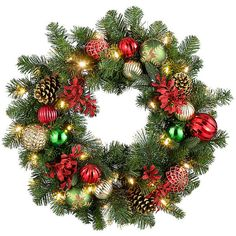 """Improvements Merry and Bright Lighted Christmas Wreath-26"""" ($60) ❤ liked on Polyvore featuring home, home decor, holiday decorations, christmas decor, christmas door decor, christmas garland, christmas hanging basket, christmas urn filler, christmas wreath and entryway christmas decor"""