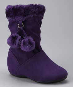 Take a look at this Purple Bobbie Zip-Up Pom-Pom Boot by PINKY FOOTWEAR on #zulily today!