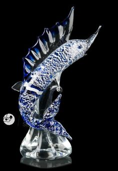 """Vela"" #Murano #glass #fish #sculpture #handcrafted #art #summer #design #color #blue #Muranolampstore https://www.muranolampstore.com/en/murano-glass-fish-vela"