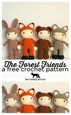 These four forest friends are all free crochet patterns! Their cute costumes make them ideal for a woodland themed nursery or as gifts! Free crochet pattern for the amigurumi fox, bear, raccoon and bunny.