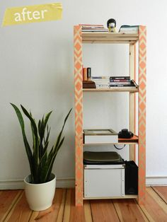 Paint a decorative pattern on a plain shelving unit to add some flair to your apartment.