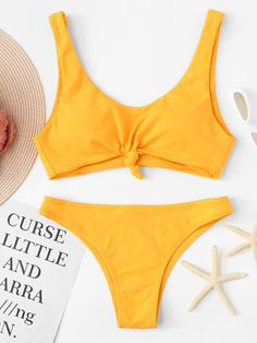 Shop Knot Front Top With Seam Trim Bikini Set online. SheIn offers Knot Front Top With Seam Trim Bikini Set & more to fit your fashionable needs. Cute Swimsuits, Women Swimsuits, Bikini Ready, The Bikini, Bikini Set, Trendy Swimwear, Bikini Swimwear, Women's Bikinis, Plus Size Bikini
