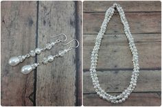 Pearl Necklace Set | Wedding Jewelry Set | Necklace + Earring set by Amanda Badgley Designs | A Bridal Jewelry Boutique {Bride + Bridesmaid Jewelry}