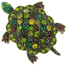 Coldwater Creek Green Rhinestone Turtle Pin Pendant Thumbnail 1