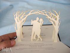 handmade pop up wedding invitation