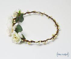 Silk Flower Crown, White Flower Crown, Flower Crown, Boho Flower Crown, Wedding…