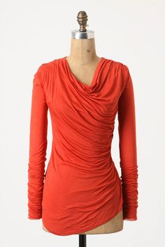 Wrapped-Ruched Tee   This is supposed to be red, but I think it looks orange. Also, in black and brown.   anthropologie.com $58.00