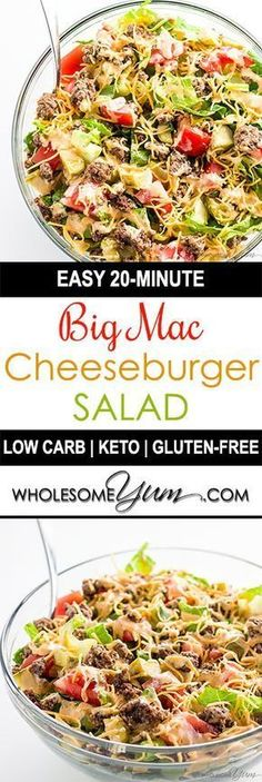 Programme du régime   :     Cette recette de salade Big Mac très facile à utiliser est prête en seulement 20 minutes! Une salade de cheeseburger de keto sans gluten comme celle-ci fait un déjeuner ou un dîner sain.  - #PerdreDePoids