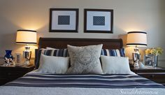 Navy & White- Simple tips to refresh a bedroom's style     from www.seasideinteriors.ca