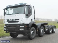 6 units Iveco TRAKKER AD410T42H 8x4 chassis cabin - NEW  Price: € 95.000,-  Axles: 8x4  Emission: Euro 3  Cabin: active day cabin  HP/KW: 420 HP / 313 Kw  Gearbox: Manual gearbox  Wheelbase: 4250 mm  Suspension: steel spring  More information: http://www.pktrucks.com/stock/view/iv2795