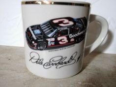 NASCAR Dale Earnhardt Sr. #3 Car 10 oz. Mug Cup Coffee Tea Cocoa Gold Trim EUC