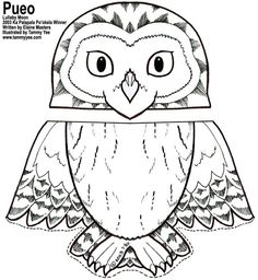 owl coloring pages free printables Paper Bag Puppets, Hand Puppets, Owl Coloring Pages, Paper Bag Crafts, Puppet Patterns, Kindergarten Art, Preschool, Paper Birds, Animal Crafts