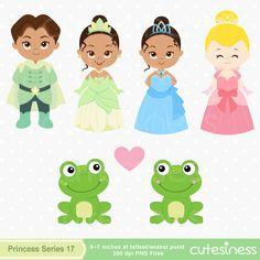 Princess Digital Clipart, Princess Clipart, Frog Clipart