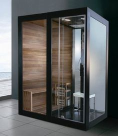 Luxury Black Aluminium Framed Solid Wood Sauna Room and Steam Room Combination (M-8287) - China Steam Sauna Combination, Steam Sauna Room | Made-in-China.com