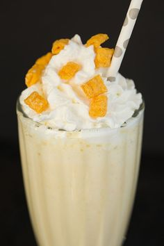 Captain Crunch Milkshake - Cereal-infused milk blended with vanilla ice cream and Captain Crunch cereal. | browneyedbaker.com