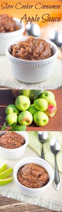 Slow Cooker Cinnamon Apple Sauce Collage   Inspiration Kitchen