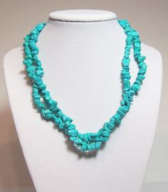 "Turquoise Necklace Wear It 3 Different Ways 34"" Long Turquoise Chunky Necklace Chip Beads. $20.00, via Etsy."