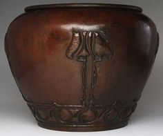 """STICKLEY BROTHERS Massive hammered copper jardiniere embossed with stylized flowers over scrolled band. Stamped 166. 16 1/2"""" x 21"""""""