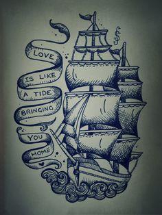 Wanna get a tattoo like this on my thigh! Love ship tattoos so much Boswell Tatto Old, Tatoo Art, Get A Tattoo, Tattoo Ship, Tattoo Small, Tattoo Outline, Great Tattoos, Beautiful Tattoos, Body Art Tattoos