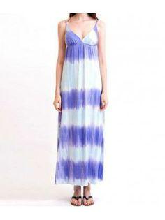 Exotic Woman Spaghetti Strap Design Ombre Maxi Dress