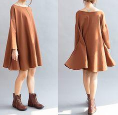 Women Cotton Loose Fitting Cloak dress large size Loose by MaLieb