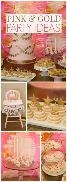 Such a lovely twinkling pink and gold first birthday! See more party ideas at CatchMyParty.com!