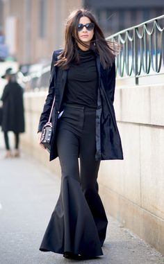 Daring Flares from Street Style at New York Fashion Week Fall 2016 Lainy Hedaya went big with super-flared pants and a black turtleneck during New York Fashion Week.