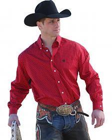 Cinch Men's Red Dot Print Button Long Sleeve Shirt