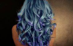 gorgeous purple and light blue hair