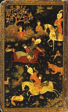 جلد لاکی، احتمالاً قزوین، دوره صفویه، ربع سوم قرن 16 میلادی A FINE SAFAVID LACQUER BINDING  IRAN, PROBABLY QAZVIN, THIRD QUARTER 16TH CENTURY  The exterior of each board finely painted, one with a hunting scene in which three men on horseback attack lions and gazelles in a landscape, the other with a ruler enthroned in a landscape surrounded by courtiers and attendants, both within minor gold borders and outer borders of stylized cloud motifs Each board 28.6 x 17.5cm