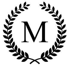 monogram initial in laurel leaf frame vinyl decal (No.163). $8.00, via Etsy.