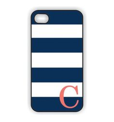 This is a MUST! Monogram iPhone 5 Case - Navy Blue Stripes with Coral Initial  -  Monogram iPhone Case, iPhone 5 Case IPHONE 5 (iM4050). $20.99, via Etsy.